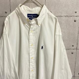 POLO RALPH LAUREN - ラルフローレン 刺繍ロゴ 白シャツ 長袖 ボタンダウン オックスフォードシャツ