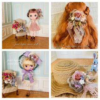 蝶々と花の髪飾り 12番(クリップとピン両方ついてます(人形)
