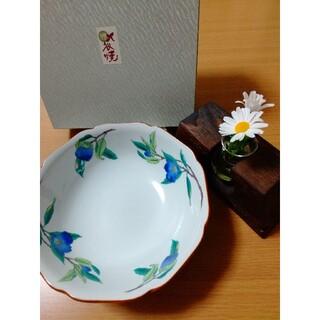 【二度使用・美品】九谷焼 盛り鉢 来客用 椿 中鉢 モダン 藍 花柄 菓子皿 青