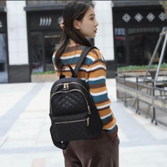 レディース リュック バッグパック シンプル 黒 ブラック マザーズ 模様あり レディースのバッグ(リュック/バックパック)の商品写真