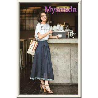 Mystrada - 【Mystrada】ドットシフォンラインスカート☆ネイビーSTORY掲載訳有