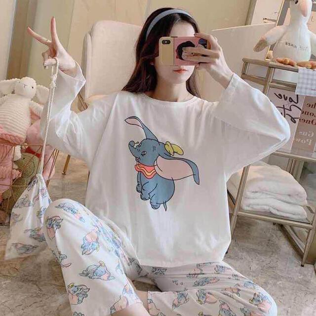 新作 パジャマ 上下セット ルームウエア 長袖 韓国風 ダンボ 巾着付き レディースのルームウェア/パジャマ(パジャマ)の商品写真