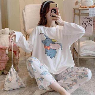 新作 パジャマ 上下セット ルームウエア 長袖 韓国風 ダンボ 巾着付き