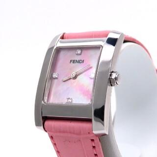 フェンディ(FENDI)の【FENDI】フェンディ 時計 'ダイヤモンド' ピンクシェル ☆極美品☆(腕時計)