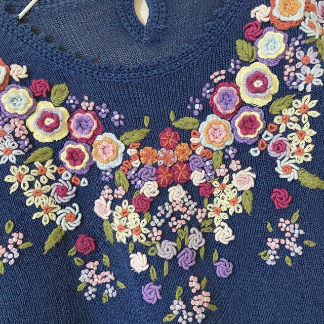 Lochie(ロキエ)のヴィンテージ ✽ フラワー刺繍サマーニット ✽ レディースのトップス(ニット/セーター)の商品写真
