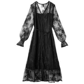 GRL - GRL ぺチコート付花柄レースワンピース ブラック 黒 ドレス 新作 人気 上品