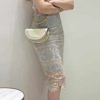 LE CIEL BLEU - フラワー刺繍レーススカート