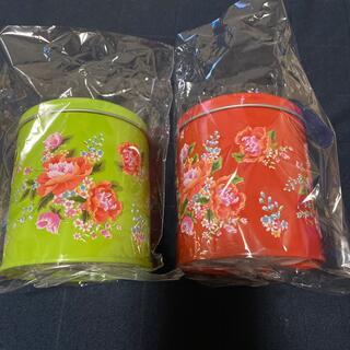 カルディ(KALDI)のカルディ 客家柄缶 赤&緑(菓子/デザート)
