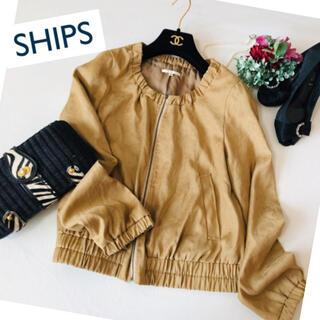 SHIPS - 美品 ♡ ジャケット レザー フェイク ノーカラー アウター トレンチ 春