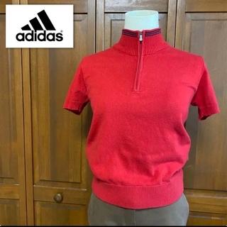 アディダス(adidas)の【美品】アディダス ニット ポロシャツ 半袖シャツ サマーセーター 赤 Sサイズ(ポロシャツ)