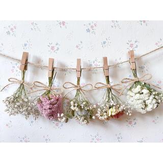 淡い3種のバラとかすみ草のドライフラワーガーランド♡スワッグ♡ミニブーケ♡壁掛け(ドライフラワー)