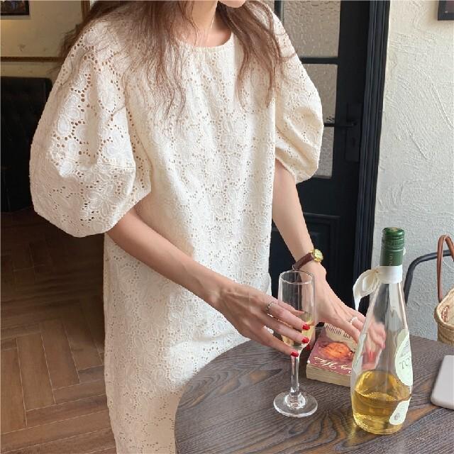 かぎ針編み パフスリーブ ワンピース レディースのワンピース(ひざ丈ワンピース)の商品写真