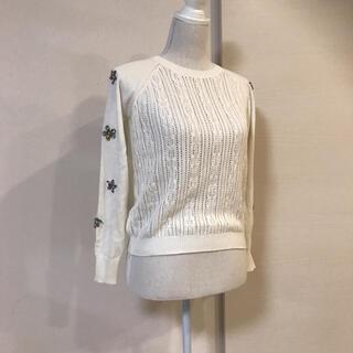 Chesty - チェスティ♡春にピッタリ ざっくり編みが可愛い ビジューニット ショート丈 白