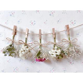 バラとかすみ草とユーカリのシンプルドライフラワーガーランド♡スワッグ♡ミニブーケ(ドライフラワー)