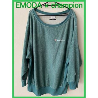 エモダ(EMODA)の【早い者勝ち】EMODA×Championワイドネックプルオーバー(GRN)(トレーナー/スウェット)
