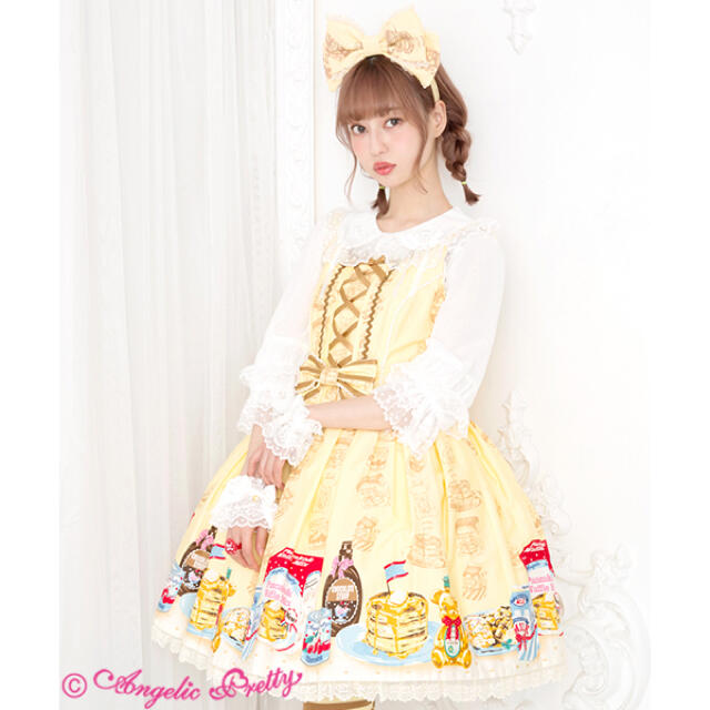 Angelic Pretty(アンジェリックプリティー)のHoney Cake  JSK イエロー レディースのワンピース(ひざ丈ワンピース)の商品写真