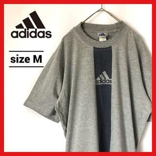 adidas - 90s 古着 アディダス Tシャツ 三本線ロゴ グレー
