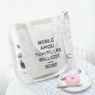 【2way】★斜め掛けショルダーバッグ★キャンバス★韓国風ロゴ★ホワイト