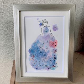 手描きイラスト『星空ドレス 紫』 インテリア アート(アート/写真)