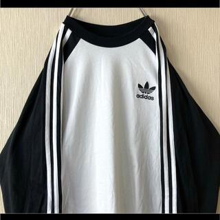 adidas - adidas アディダス Tシャツ 長袖 ロンT 3本ライン トレフォイル刺繍