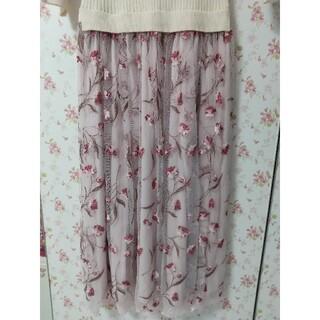 LAISSE PASSE - お花刺繍🌸チュールスカートドッキングワンピース