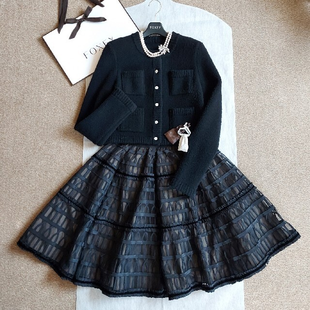 FOXEY(フォクシー)のFOXEY❤40『Skirt Alhambra』ブラック×ブラウン レディースのスカート(ひざ丈スカート)の商品写真