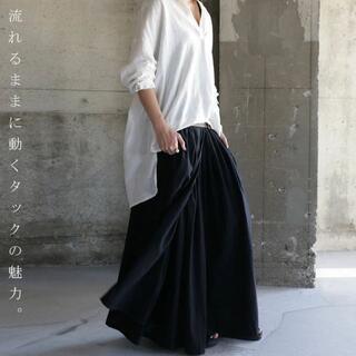 antiqua - 【antiqua】極上 プリーツ 風 ロング スカート ブラック【アンティカ】