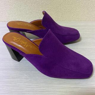 パープル ミュール L サイズ パンプス ハイヒール 紫