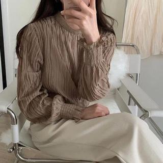 dholic - 韓国ファッション♡淡色女子 オルチャン ブラウン ブラウス フェミニン 長袖
