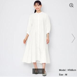 GU - バンドカラーシャツワンピ GU ホワイト Mサイズ