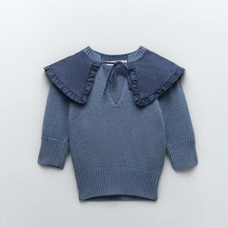 ZARA - 完売 ZARA ザラ フリル襟付き ニット セーター 半袖 XSサイズ