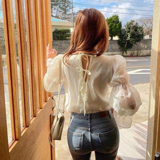 dholic - バックリボン シフォン blouse ブラウス シアー