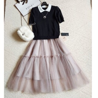 René - RENE❤2021新作『Tiered Tulle Skirt』38ダスティピンク