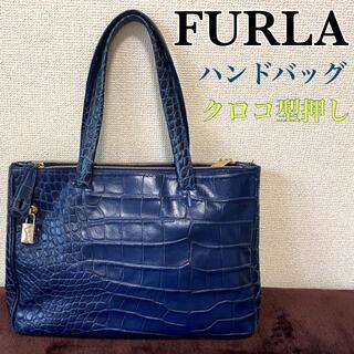 フルラ(Furla)の⭐︎高級 【FURLA】フルラ クロコ型押し レザーハンドバッグ ショルダー(ハンドバッグ)
