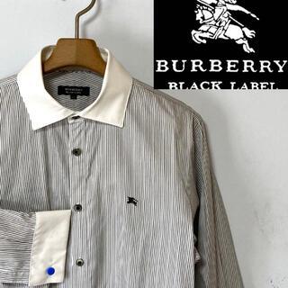 BURBERRY BLACK LABEL - 美品!バーバリーブラックレーベル ホースマーク クレリック・ダブルカフスシャツ