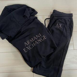 アルマーニエクスチェンジ(ARMANI EXCHANGE)のアルマーニ エクスチェンジ セットアップ 黒(パーカー)