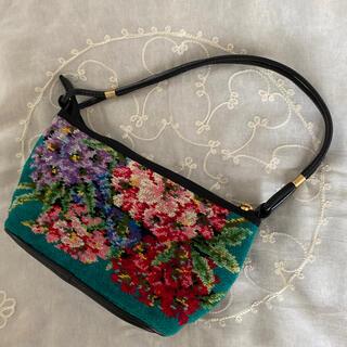 グリモワール(Grimoire)のvintageレトロ古着グリーン花柄シュニール織刺繍バッグ(ハンドバッグ)