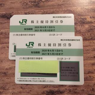 ジェイアール(JR)の2枚 1名様往復分 JR東日本 株主優待券(鉄道乗車券)