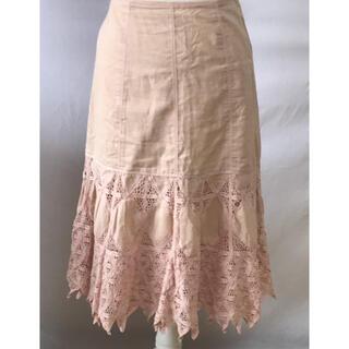 シビラ(Sybilla)の美品シビラコットン100%レースギザギザロングスカート、サイズM、9号(ロングスカート)