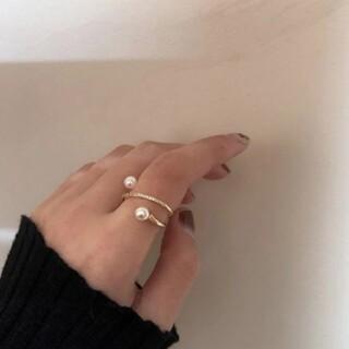 スナイデル(snidel)のダブル パール ラインストーン リング 指輪 ゴールド(リング(指輪))