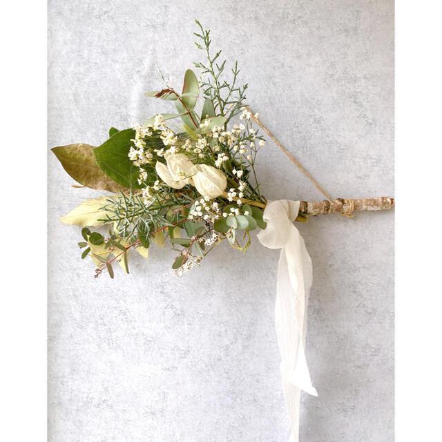 ドライフラワー White Birch 白樺の 横長スワッグ ハンドメイドのフラワー/ガーデン(ドライフラワー)の商品写真