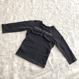 エフオーキッズ(F.O.KIDS)のF.O.KIDS【80cm フリル・ロゴ付き・黒 長袖Tシャツ】(シャツ/カットソー)