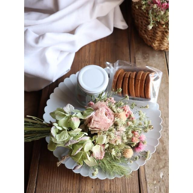 母の日ギフト。くすみピンクとアンティーク紫陽花のスワッグ。ドライフラワースワッグ ハンドメイドのフラワー/ガーデン(ドライフラワー)の商品写真