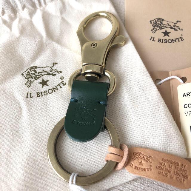 IL BISONTE(イルビゾンテ)の付属品付き新品★イルビゾンテ キーリング C0551 293 大人気色VERDE メンズのファッション小物(キーホルダー)の商品写真