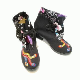 ◆ 美品 チャイナシューズ ショートブーツ 黒 鳥 24 ◆k003