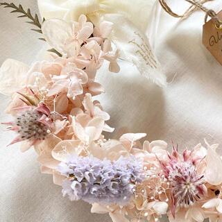 プリザーブド紫陽花とセルリアのピンクリース(ドライフラワー)