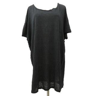 アクネ(ACNE)のAcne リネン Tシャツ カットソー 半袖 オーバーサイズ S 黒 ブラック(カットソー(半袖/袖なし))