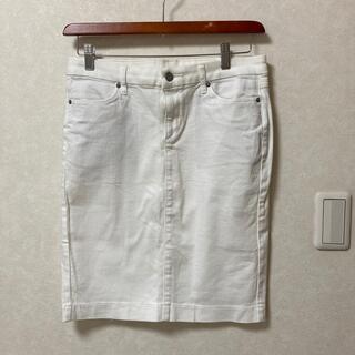 ユニクロ(UNIQLO)のUNIQLOホワイトデニムスカート(ひざ丈スカート)