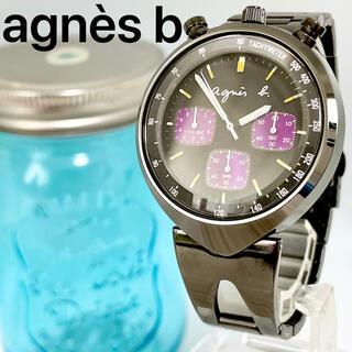 agnes b. - 86 アニエスベー時計 メンズ腕時計 クロノグラフ ブラック クロムメッキ