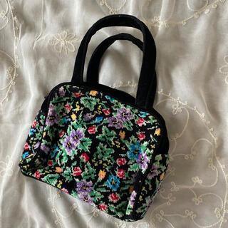 グリモワール(Grimoire)のvintageレトロ古着カラフル花柄シュニール刺繍バッグ(ハンドバッグ)